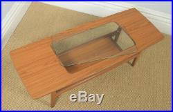 Vintage Schreiber Aeroplane Danish Style Teak & Glass Rectangular Coffee Table