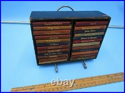 Vintage Shakespeare Miniature 24 Antique Leather Book Set WithBox By Knickerbocker