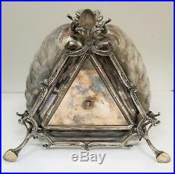 Vintage Silver Plate English Tri-fold Clam shell bun warmer biscuit box
