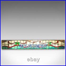Vintage Stained Glass Window, English, Lead, Pub, Panel, Art Deco, 20th Century