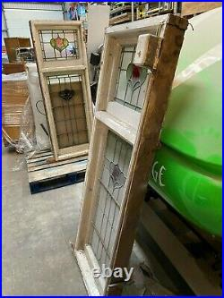 Vintage Stained Glass windows with wooden frames