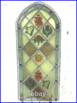 Vintage Stained Leaded Glass Window Panel recently hand painted with GB symbols