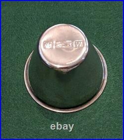 Vintage Sterling Silver English Sheffield Jigger Set Leather Case Travel Barware