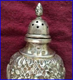 Vintage Sterling Silver Repousse English Salt and Pepper Shakers, 1899