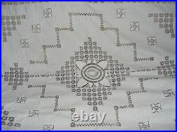 Vintage Tablecloth White Linen Cutwork, Lace, Embroidery 82 X 70