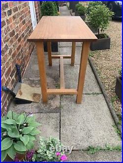Vintage Teak Science Lab Bench, School Worktop Shop Display or Dining Kitchen Top