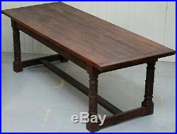 Vintage Timber Planked Top English Farmhouse Refectory Dining Table Seats 8-10