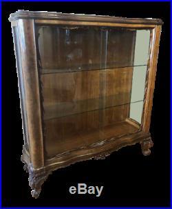 Vintage Walnut Art Deco Display Cabinet Made in England