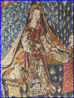 Vintage Woven Tapestry Wall hanging. Lady With Unicorn Tent