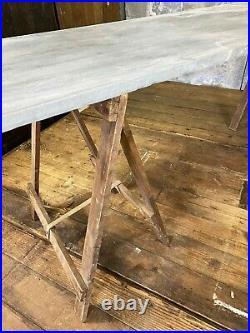 Vintage Zinc Top Trestle Table Dining Garden Table Metal Table Zinc Top Table