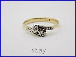 Vintage/antique English 9ct Gold Dual Diamond Ring. Size Q-r