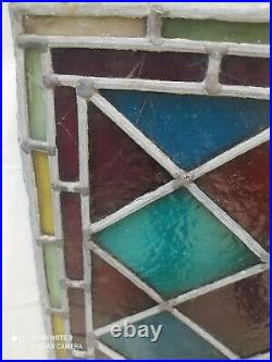 Vintage antique harlequin English Stained Glass Window Pane 808mm x 590mm