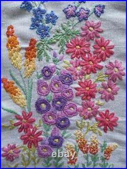 Vintage hand embroidered Irish linen tablecloth English garden lupins florals