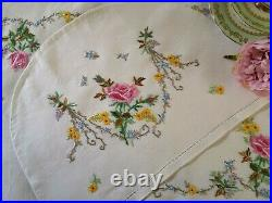 Vintage hand embroidered Irish linen tablecloth / tray cloth / tea cosy Roses