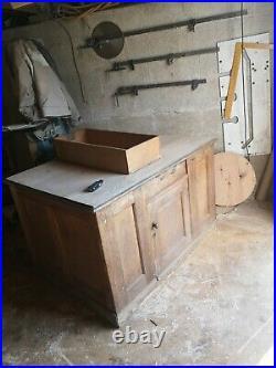 Vintage kitchen island science lab desk double sided solid oak