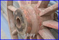 Vintage old wooden cart wagon wheel / English hay cart / 117 cm / 41 kg