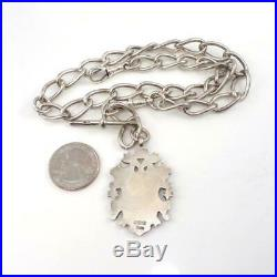 Vtg Antique English Sterling Silver Crest Fob & Pocket Watch Chain LHH3