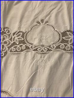 Vtg Antique Linen Lace Embroidered Banquet Tablecloth & 6 Napkins 102x102HUGE