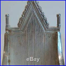 Wonderful Vintage English Sterling Silver Miniature Throne Chair / Hall Seat
