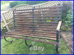 Wrought iron garden bench, heavy vintage